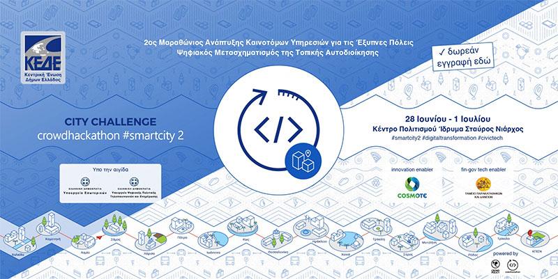 2ος Μαραθώνιος Καινοτομίας της ΚΕΔΕ για τις έξυπνες πόλεις Crowdhackathon Smartcity 2, 28 Ιουνίου – 1 Ιουλίου 2018 στο Κέντρο Πολιτισμού Ίδρυμα Σταύρος Νιάρχος